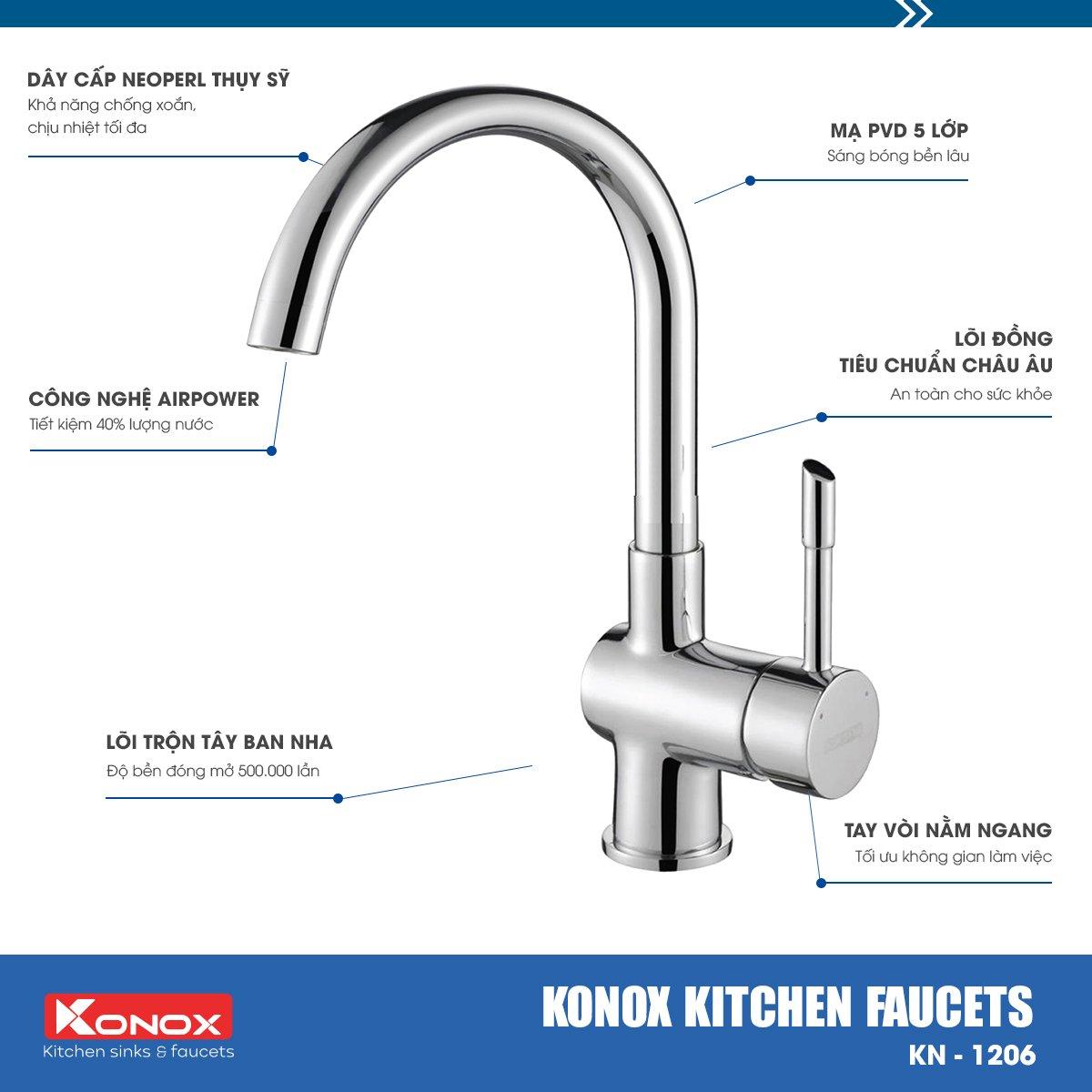 Vòi rửa bát KN1206 - Chậu vòi rửa bát cao cấp, chậu vòi nhà bếp /Konox